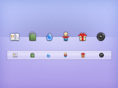 Chronicle Icons icons shopping magazine water droplet present donations camera pacifier childcare 16x16 32x32