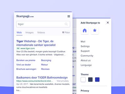 Startpage Mobile Results menu ad search field input field android iphone mobile search results results startpage search engine searchengine search