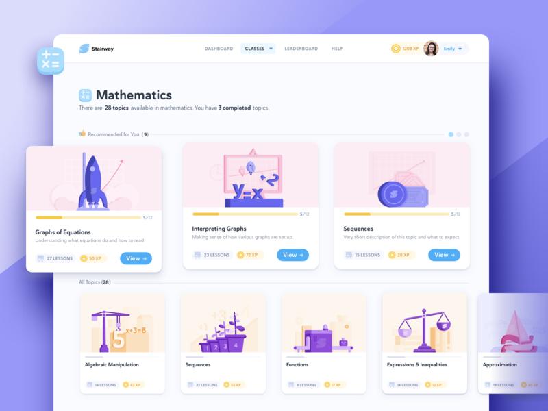 Online Math Class equation graph illustration learn platform digital school student study topics lessons class math mathematics