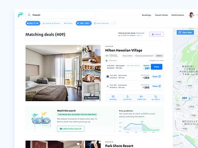 FindHotel hotel deals application web app platform cards list ota map reservation order hotel room booking hotel