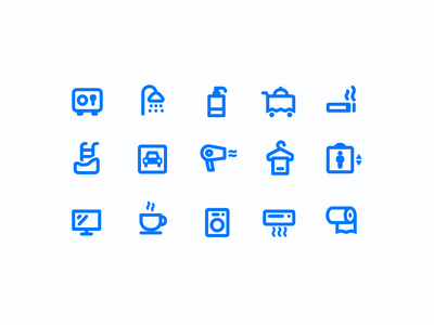 Hotel amenity icons iconography icon set icons icon room service elevator parking hair dryer laundry shower facilities facility amenity amenities hotel room hotel