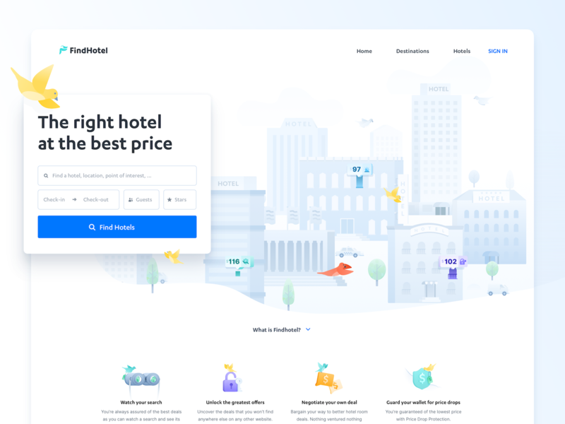 Find your amazing hotel deal - Landing Page secure paragraph houses hotels bird header search buildings birds amenities hotel room traveling travel platform booking hotel illustration