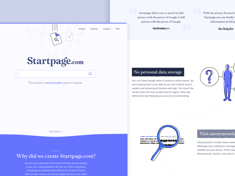 Startpage Landing Page Experience fold ripped paper paper security privacy illustrations search results results search field startpage.com startpage google search engine search homepage home page landing page