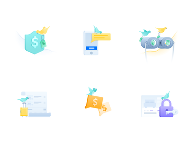 Spot illustrations for hotel booking platform FindHotel theme notification birds alert travel booking findhotel hotel bird artwork illustrations illustration