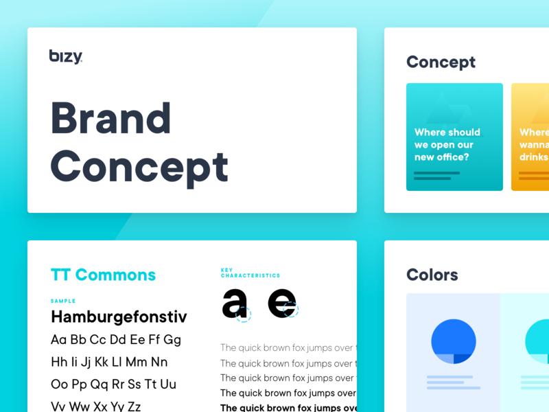 Brand Concept & Design Direction - Bizy guidelines web app ux ui website planning colors typography brand concept design research branding concept brand