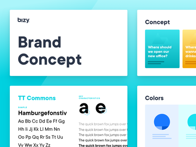 Brand Concept & Design Direction - Bizy guidelines web app ux ui website planning colors typography brand concept design research branding concept brand
