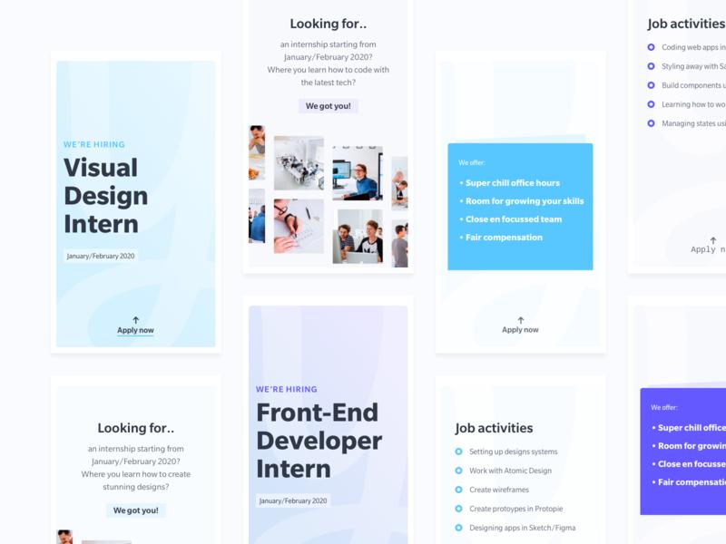 Instagram Stories - Yummygum ui design iphone stories instagram story instagram jobs job front-end developer designer careers career