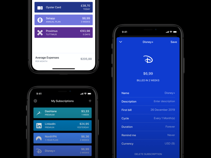 Bobby 3 - Keep track of your subscriptions design ui themes dark mode mobile subscription expenses money colors dashboard cards budget finance subscriptions ios app