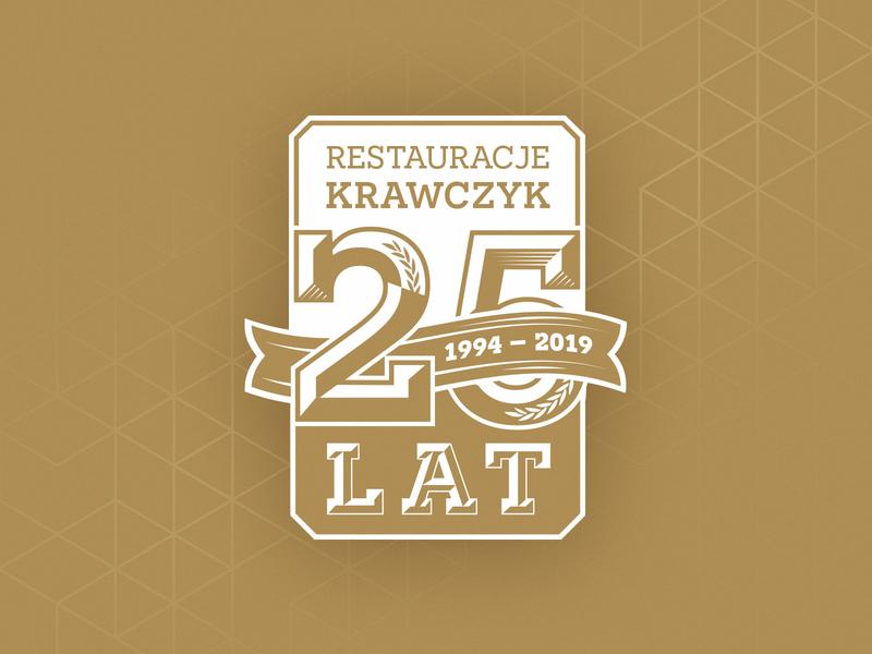 25'th anniversary logo 25 years restaurant years golden pattern badge logo anniversary 25th