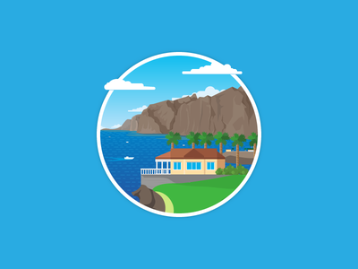 Where do you live ocean spain tenerife colorful flat illustration vector flat icon day2icon