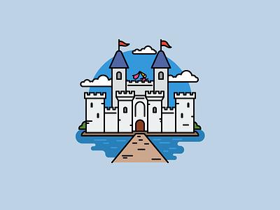Fairy castle fairytale princess castle flat outline line art illustrator illustration vector flat icon day2icon