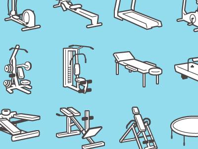Fitness equipment flat icon vector illustrator line art outline flat sport equipment