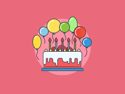 Birthday cake birthday cake flat outline line art illustrator illustration vector flat icon day2icon