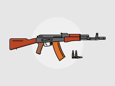 Russian assault rifle AK-74 (updated) gun russian ak rifle flat outline line art illustration vector flat icon day2icon