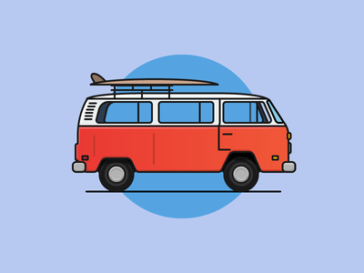 Oldschool VW minibus old minibus car vw flat outline line art illustrator illustration vector flat icon day2icon