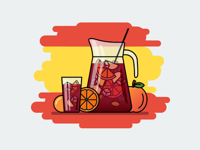 Sangria drink vine sangria spain flat outline line art illustrator illustration vector flat icon day2icon