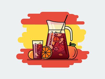 Sangria drink vine sangria spain flat outline line art illustrator illustration vector flat icon day2icon