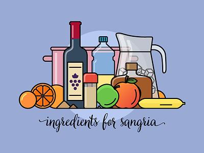 Ingredients for sangria drink spain sangria flat outline line art illustrator illustration vector flat icon day2icon
