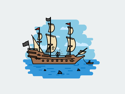 Once at sea sharks pirates ship galleon flat outline line art illustrator illustration vector flat icon day2icon