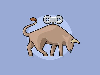 Tiny bull toy bull flat outline line art illustrator illustration vector flat icon day2icon