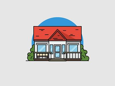 Farmhouse house farmhouse flat outline line art illustrator illustration vector flat icon day2icon