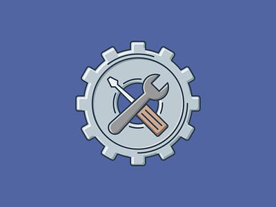 Repair and maintenance maintenance repair gear flat outline line art illustrator illustration vector flat icon day2icon