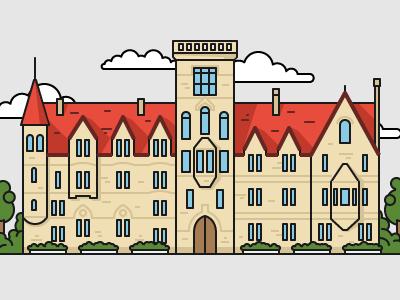 British style university №1 color art illustrator illustration house education university building flat outline