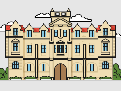 British style university №2 color art illustrator illustration house education university building flat outline