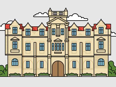 British style university №2 color art illustrator illustration house education university building flat outline