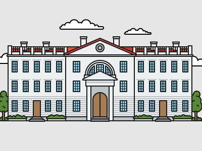 British style university №3 color art illustrator illustration house education university building flat outline