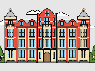 British style university №14 color art illustrator illustration house education university building flat outline