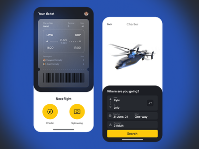Helicopter charters mobile ticket flight charter helicopter ui concept clean