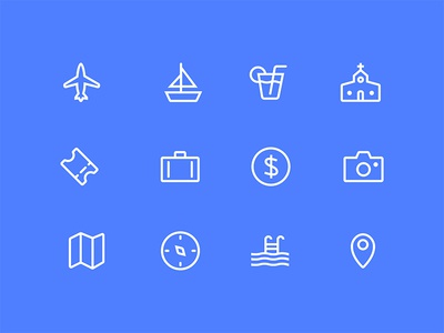 Bon voyage glyph icon compass map camera coin baggage ticket church alcohol yacht plane