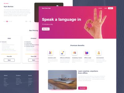 Landing Page for Language Courses clean courses language landing page
