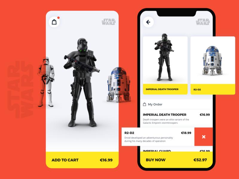 Star Wars shop cart r2-d2 mobile app e-comerce star wars ui design clean