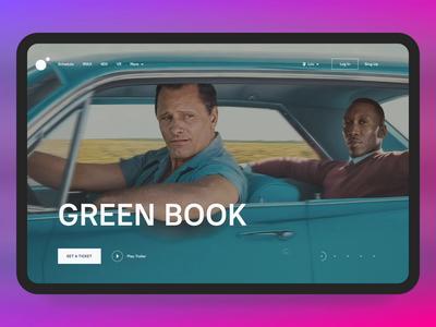 Planeta Kino cinema planeta kino green book movie brand landing page design concept animation clean