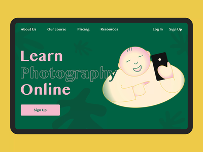 Learn Photography Online concept courses boy yellow green typography landing page animation ui clean illustration landing