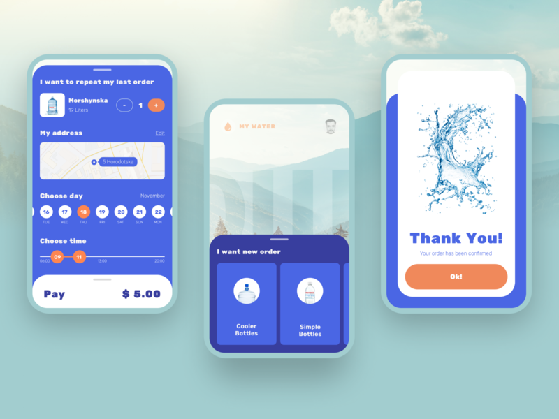 Water app purchase figma water concept clean