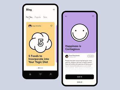 Blog mobile app ui clear concept branding blog post blog clean