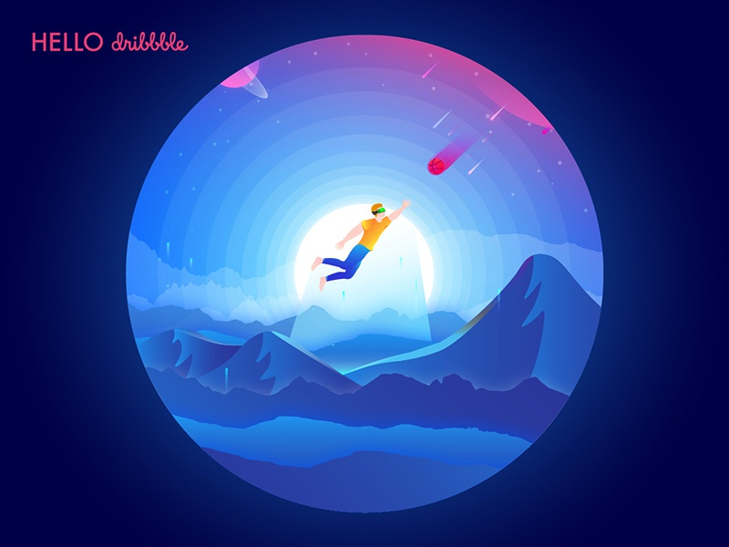 Hello Dribbble! dream planet meteoroid space design digital art shot debut illustration dribbble ball human world fantasy