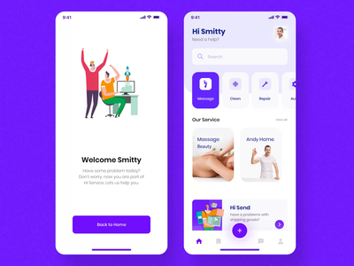 Hi - Social Service App UI KIT I mobile motiongraphics ux ui design motion-design ui8 after-effects motion animation