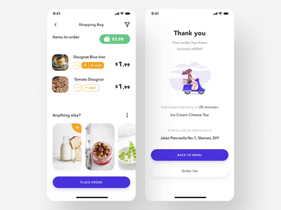 Telow UI Kit I loader payment method bag delivery app food app order illustration mobile ux ui motion-design ui8 after-effects motion animation