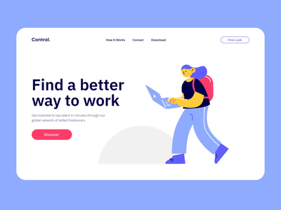 Control Animated VI landing page chat chatting character animation walking walk motiongraphics ux ui design motion-design ui8 after-effects motion animation