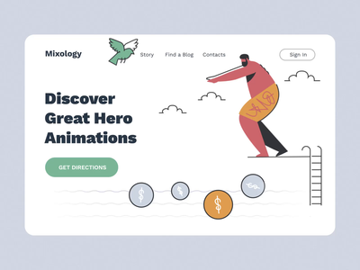 Mixology Animated V characters ux ui design motion-design ui8 after-effects motion animation