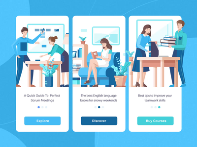 Larissa : Animated Work Illustration books scrum learning app courses startup work business svg ux ui motion-design ui8 after-effects motion animation