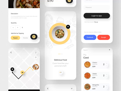 Fode-Food App UI Kit II delivery app pizza food app mobile motiongraphics ux ui motion-design ui8 after-effects motion animation