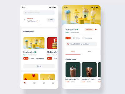 Coody Food iOS UI Kit I food app delivery app mobile ux ui design motion-design ui8 after-effects motion animation