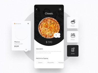 Fode-Food App UI Kit III pizza menu delivery app food app mobile design ux ui motion-design ui8 after-effects motion animation
