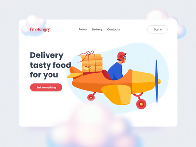 The air guy brings tasty pizza! pizza box illustrations food delivery airplane pizza mobile motiongraphics design ux ui motion-design ui8 after-effects motion animation