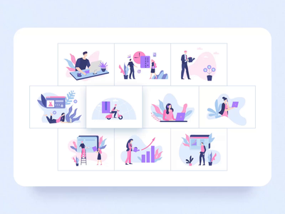 Vela Animated Illustration Library svg business character design ux ui motion-design ui8 after-effects motion animation